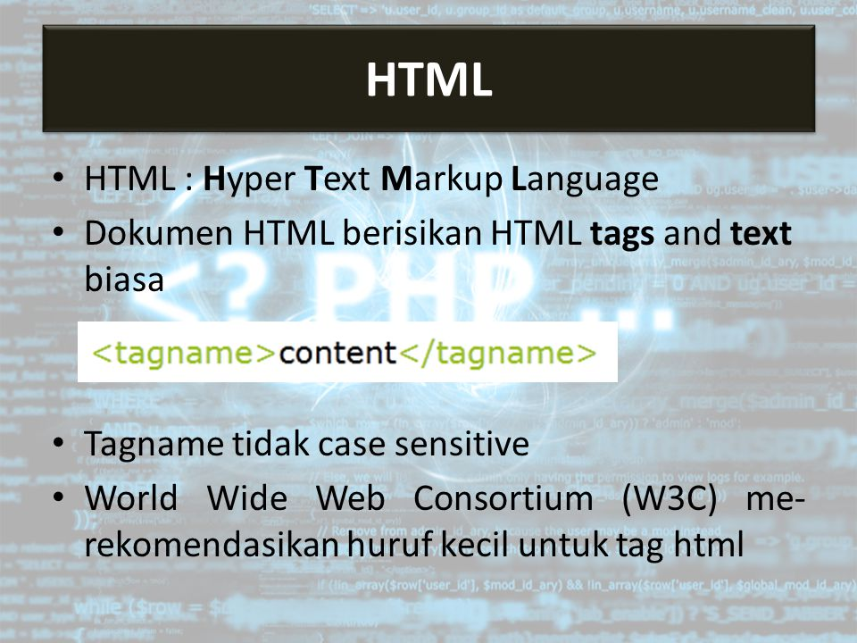 HTML HTML HTML : Hyper Text Markup Language