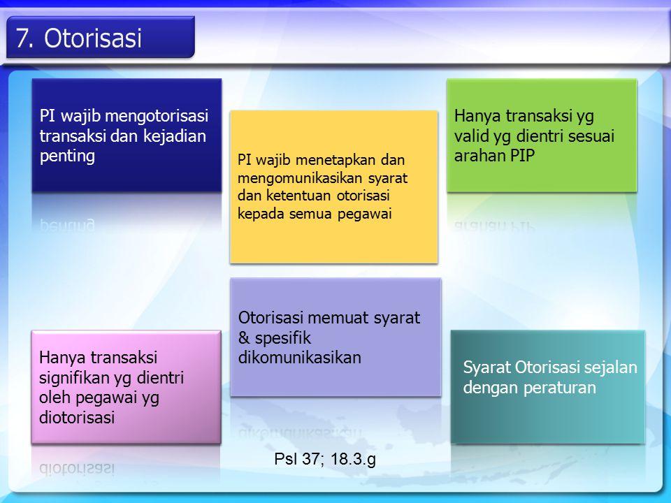 7. Otorisasi PI wajib mengotorisasi transaksi dan kejadian penting