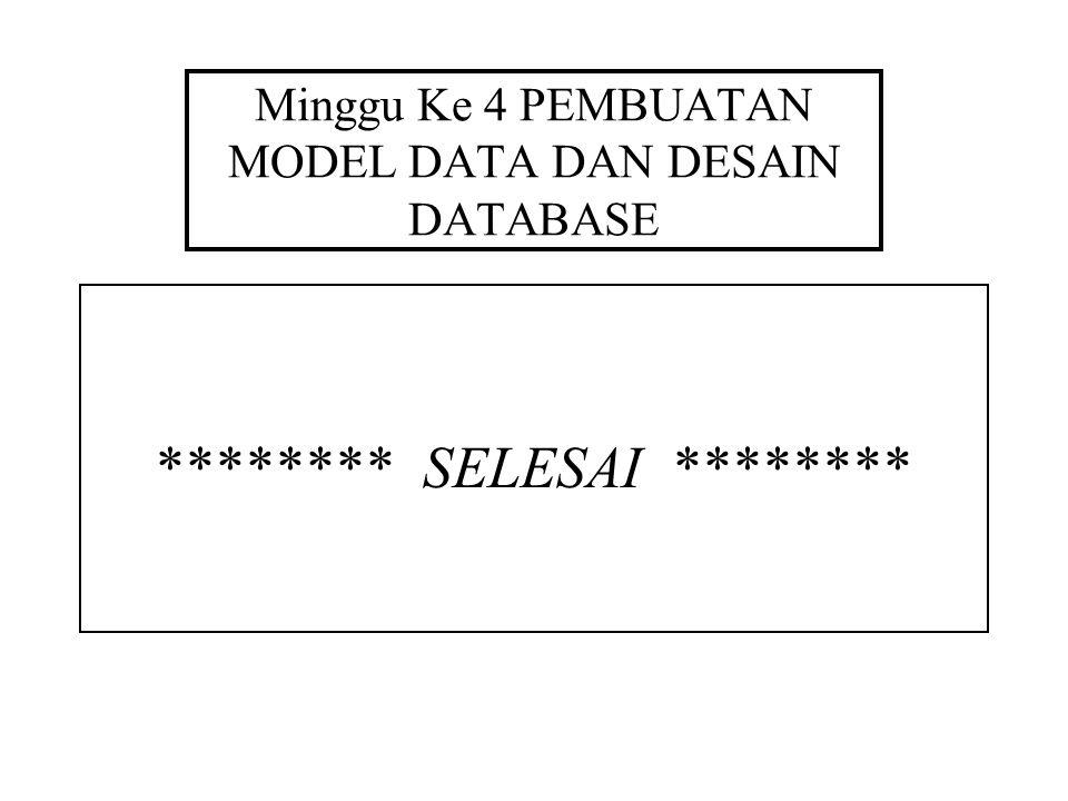 Minggu Ke 4 PEMBUATAN MODEL DATA DAN DESAIN DATABASE