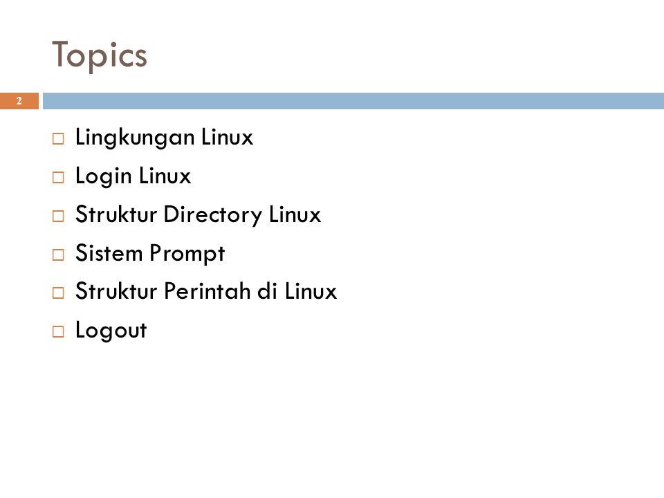 Topics Lingkungan Linux Login Linux Struktur Directory Linux