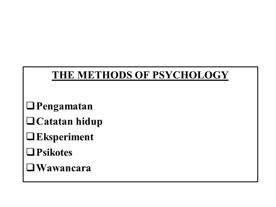 THE METHODS OF PSYCHOLOGY