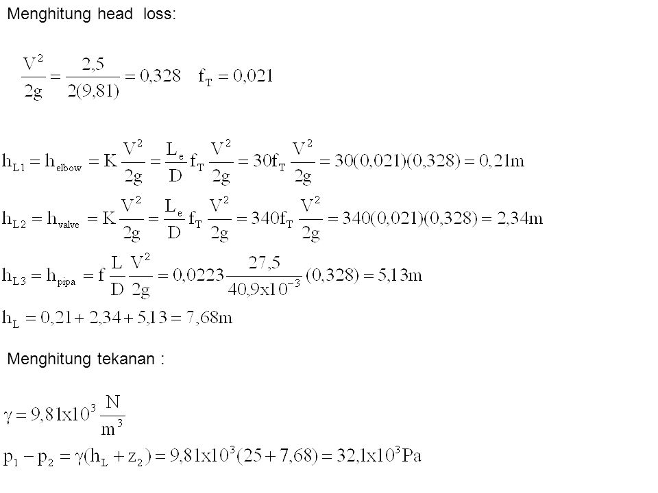 Menghitung head loss: Menghitung tekanan :