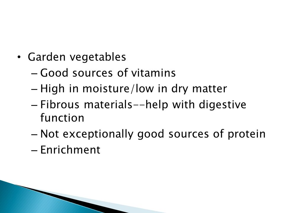 Garden vegetables Good sources of vitamins. High in moisture/low in dry matter. Fibrous materials--help with digestive function.