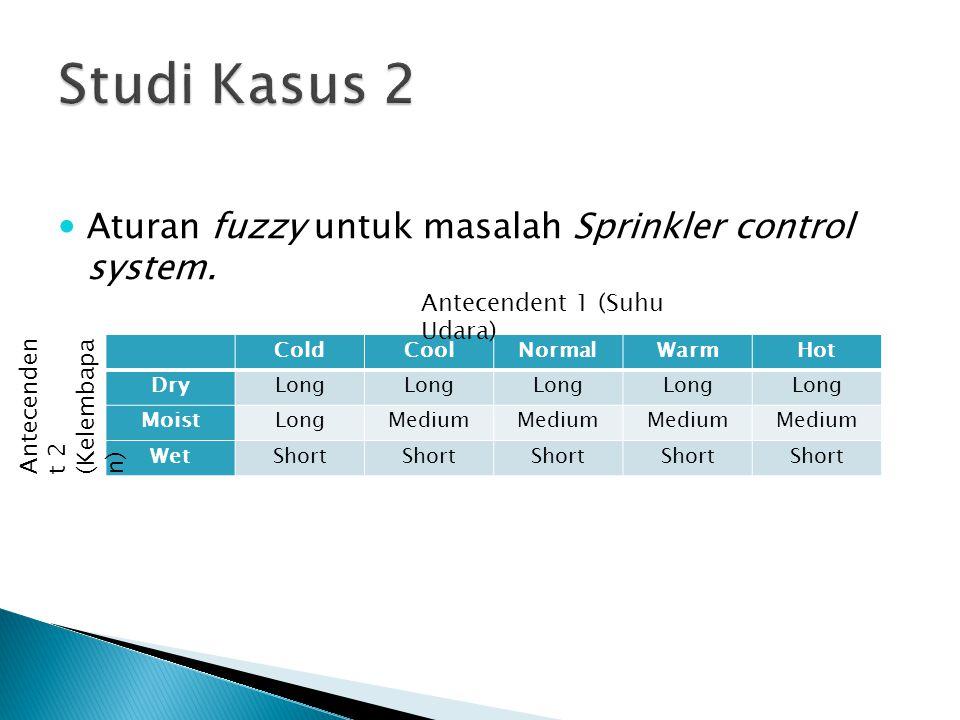 Studi Kasus 2 Aturan fuzzy untuk masalah Sprinkler control system.