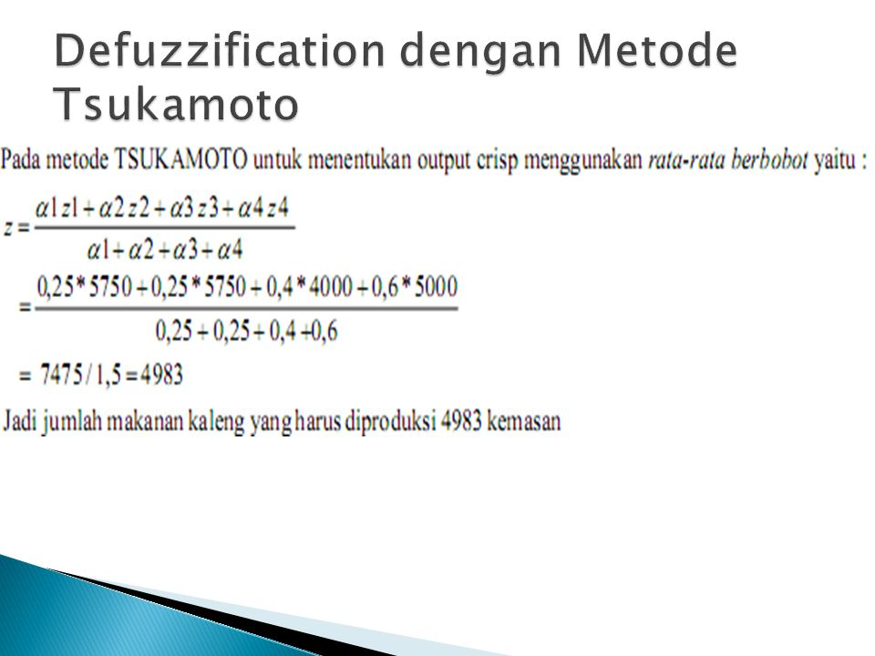 Defuzzification dengan Metode Tsukamoto