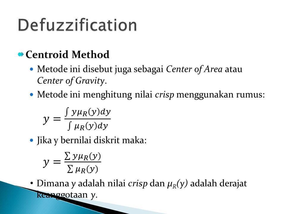 Defuzzification Dimana y adalah nilai crisp dan µR(y) adalah derajat keanggotaan y.
