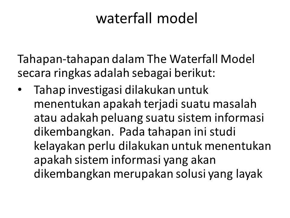 waterfall model Tahapan-tahapan dalam The Waterfall Model secara ringkas adalah sebagai berikut: