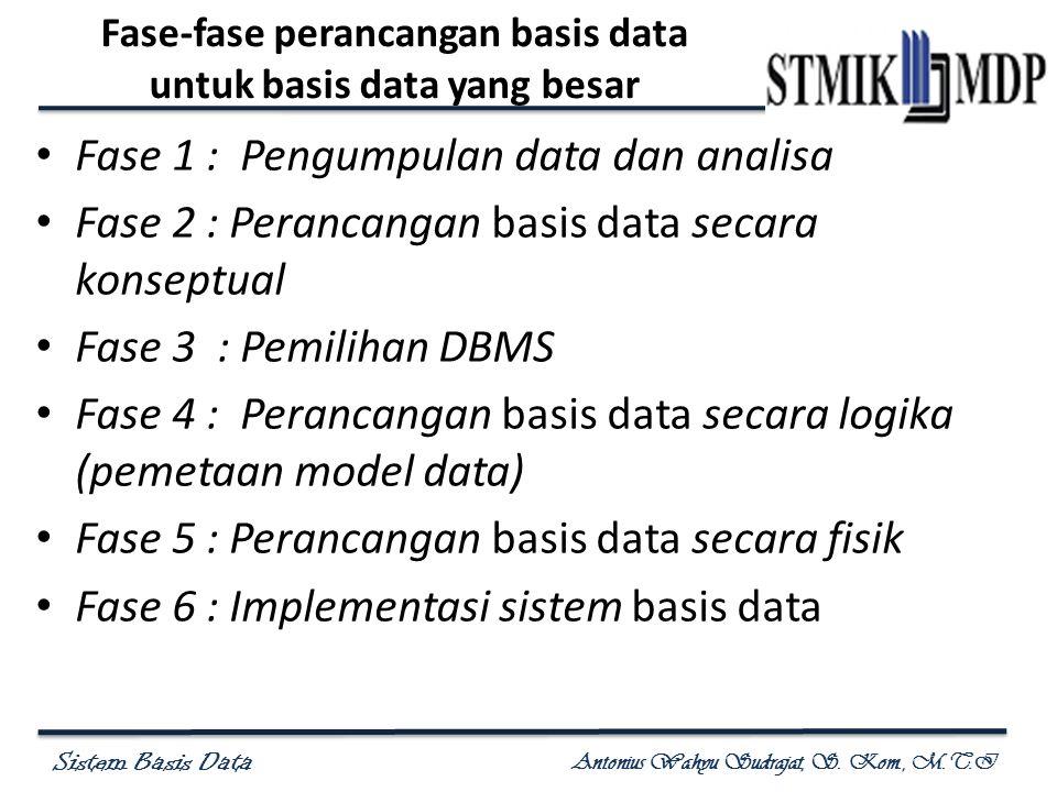 Fase-fase perancangan basis data untuk basis data yang besar