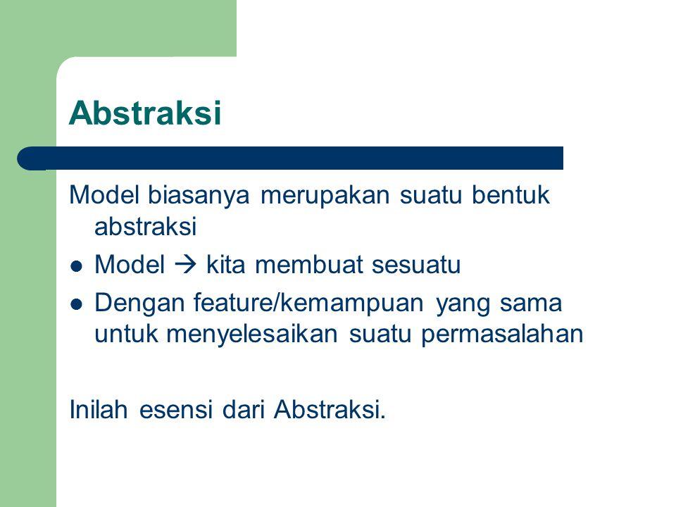 Abstraksi Model biasanya merupakan suatu bentuk abstraksi
