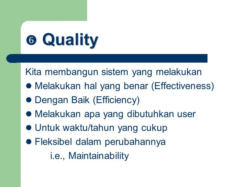  Quality Kita membangun sistem yang melakukan