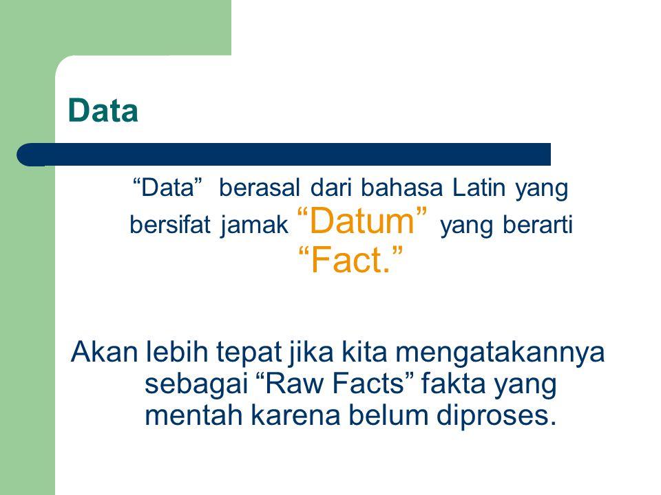 Data Data berasal dari bahasa Latin yang bersifat jamak Datum yang berarti Fact.