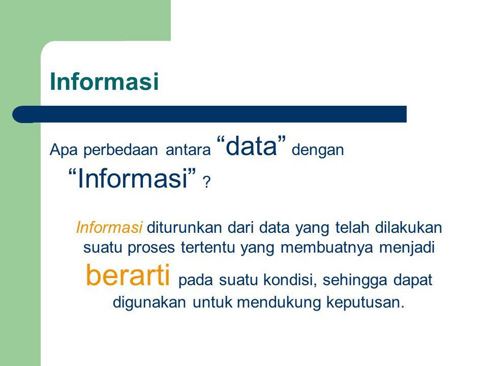 Informasi Apa perbedaan antara data dengan Informasi