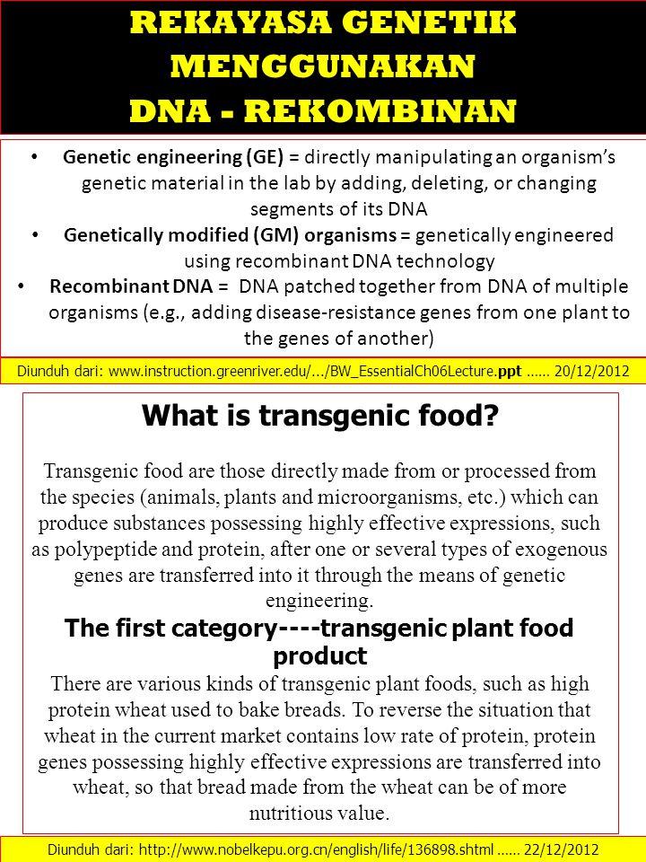 REKAYASA GENETIK MENGGUNAKAN What is transgenic food