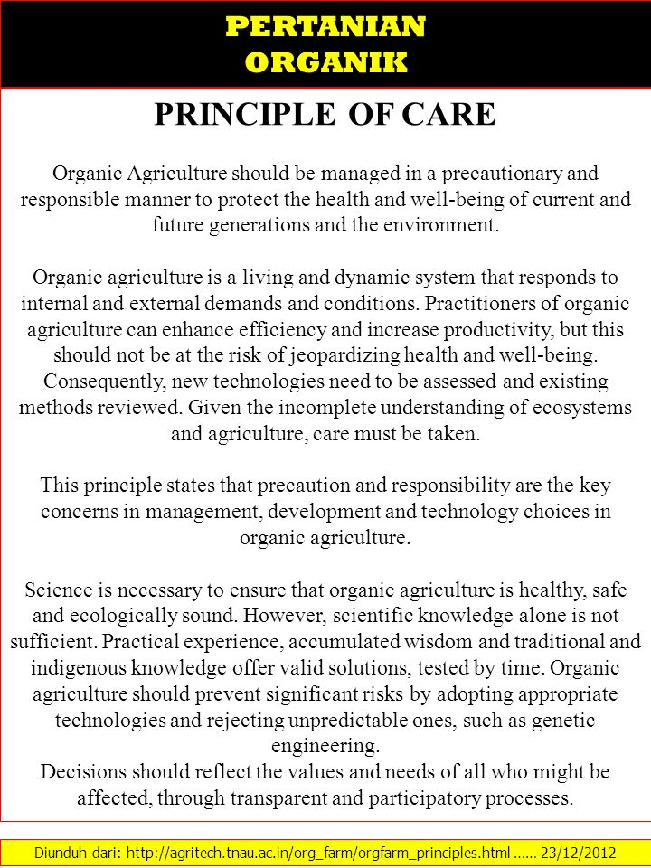 PRINCIPLE OF CARE PERTANIAN ORGANIK