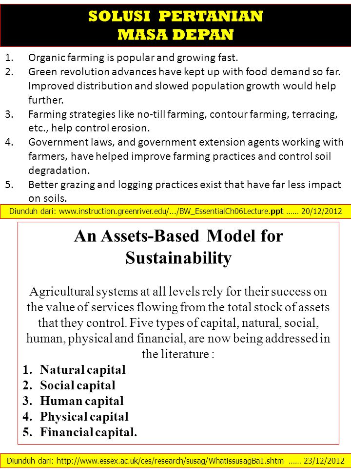 An Assets-Based Model for Sustainability