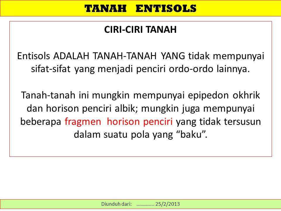 TANAH ENTISOLS CIRI-CIRI TANAH