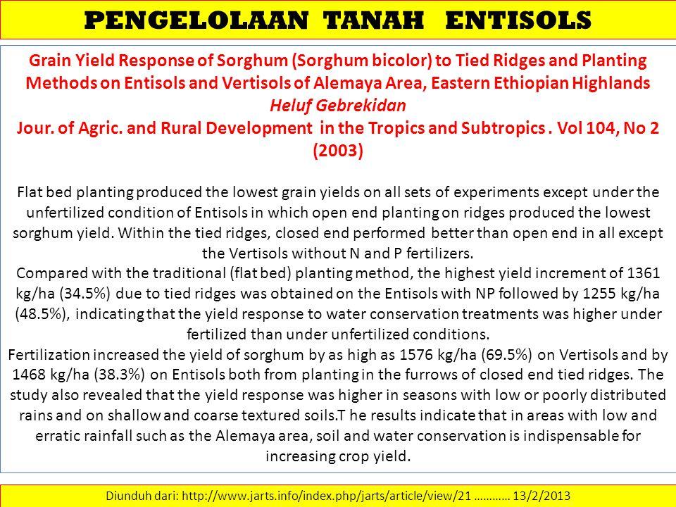 PENGELOLAAN TANAH ENTISOLS