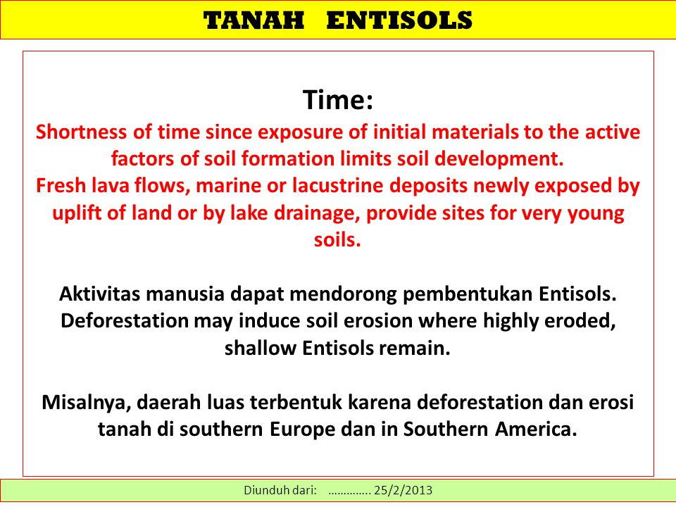 TANAH ENTISOLS Time: Shortness of time since exposure of initial materials to the active factors of soil formation limits soil development.