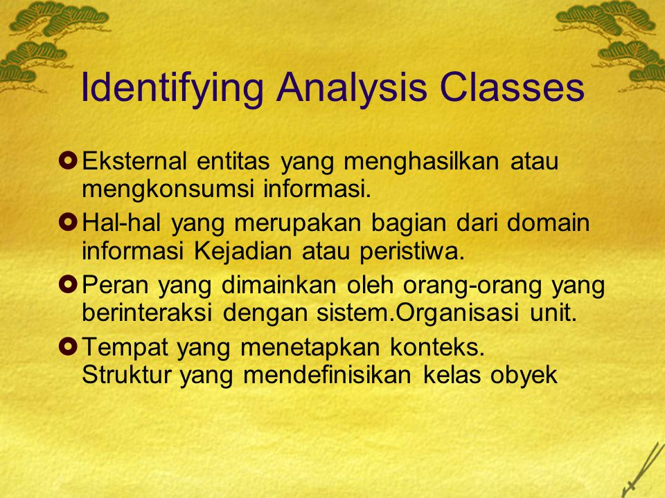 Identifying Analysis Classes