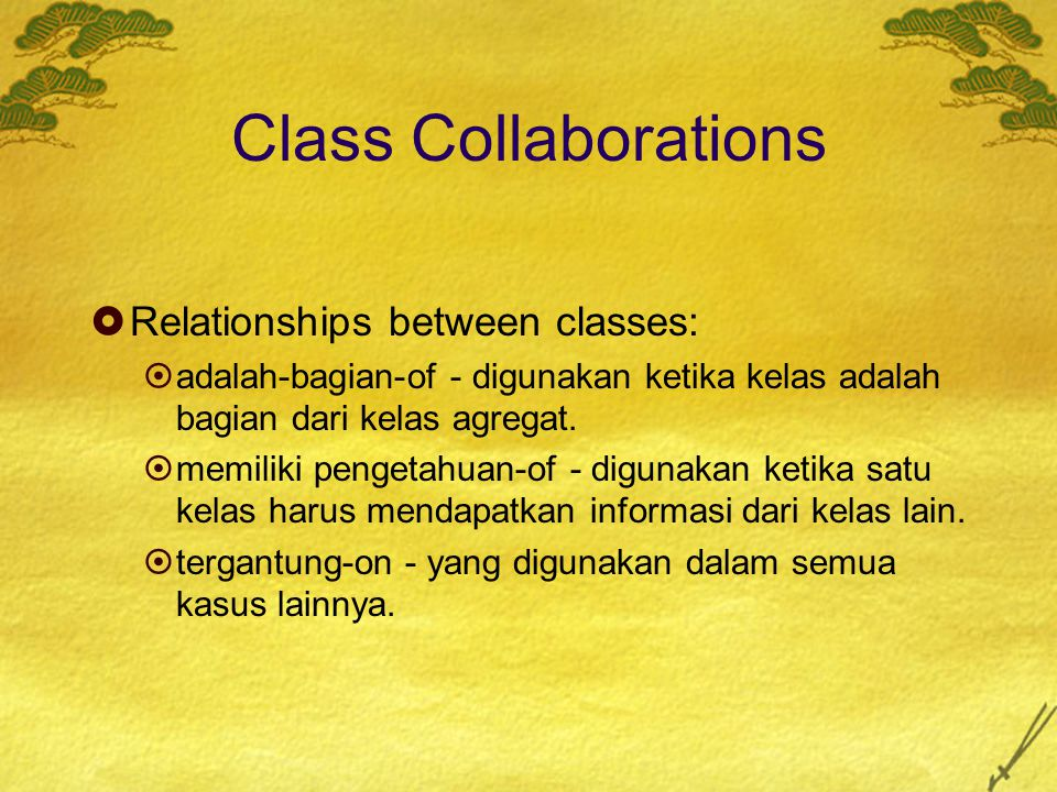 Class Collaborations Relationships between classes: