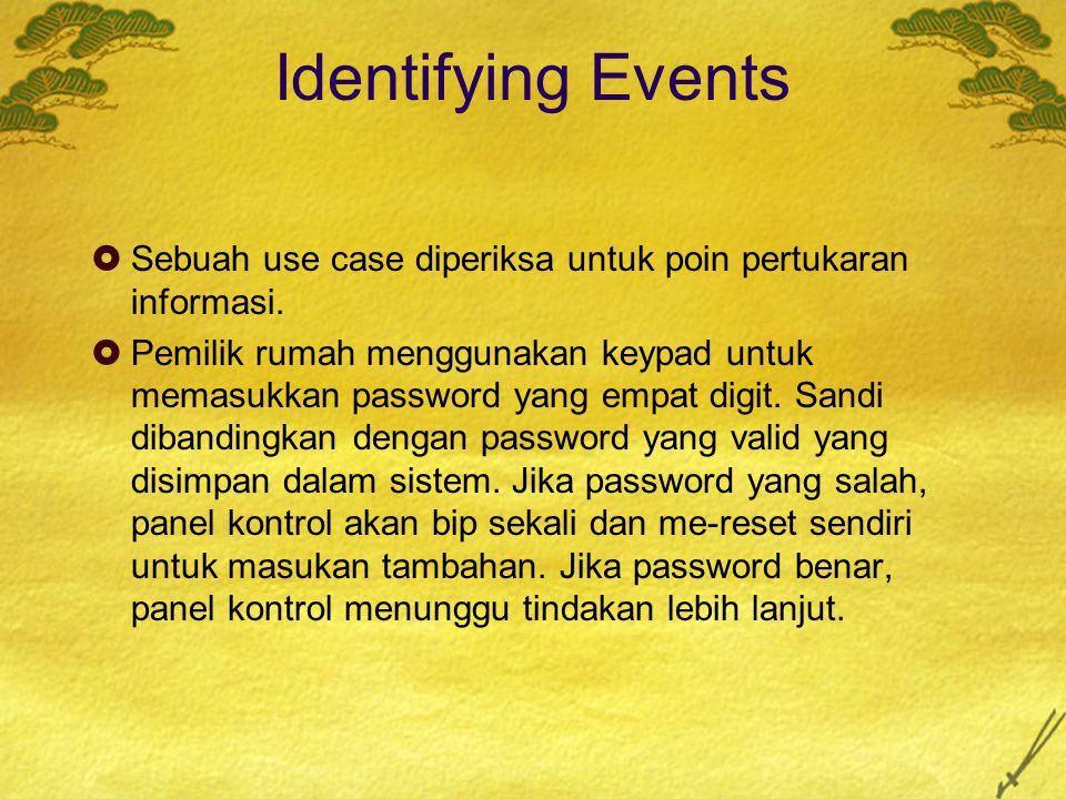 Identifying Events Sebuah use case diperiksa untuk poin pertukaran informasi.