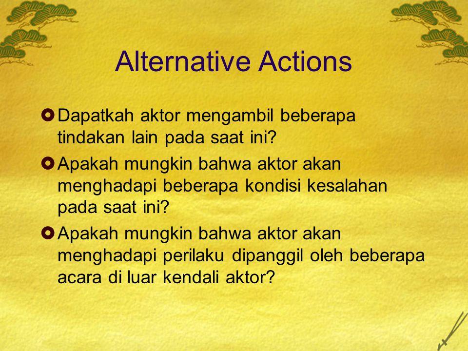 Alternative Actions Dapatkah aktor mengambil beberapa tindakan lain pada saat ini