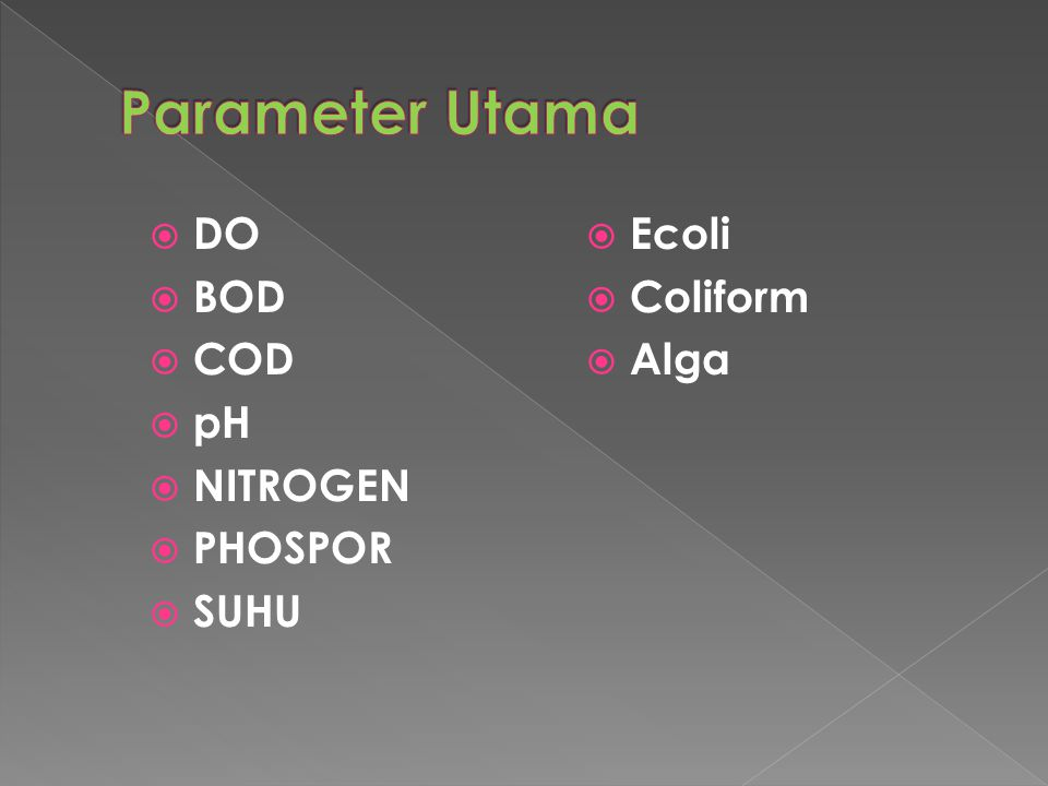 Parameter Utama DO BOD COD pH NITROGEN PHOSPOR SUHU Ecoli Coliform