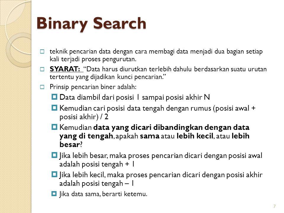 Binary Search Data diambil dari posisi 1 sampai posisi akhir N