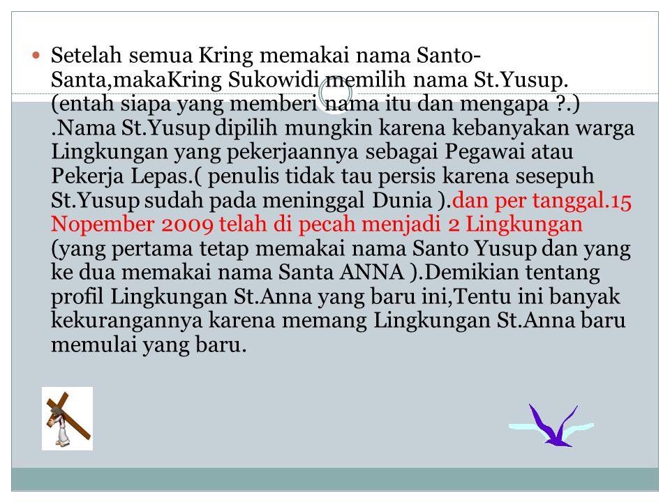 Setelah semua Kring memakai nama Santo-Santa,makaKring Sukowidi memilih nama St.Yusup.