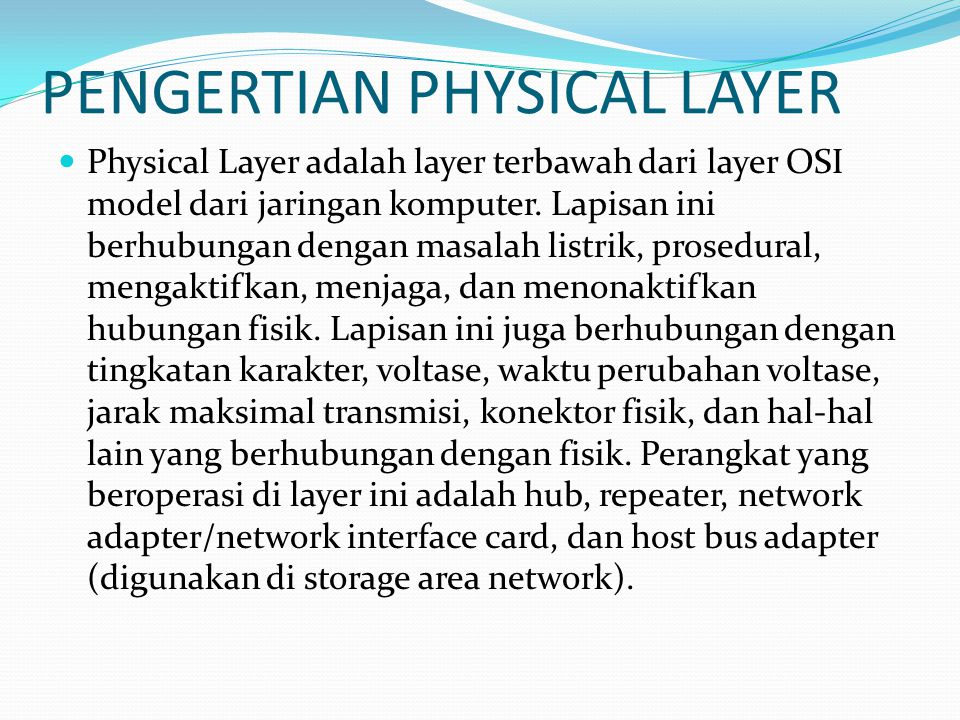 PENGERTIAN PHYSICAL LAYER