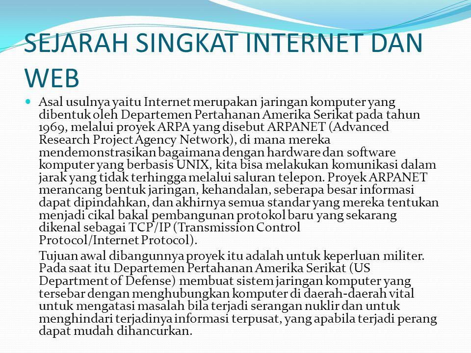 SEJARAH SINGKAT INTERNET DAN WEB