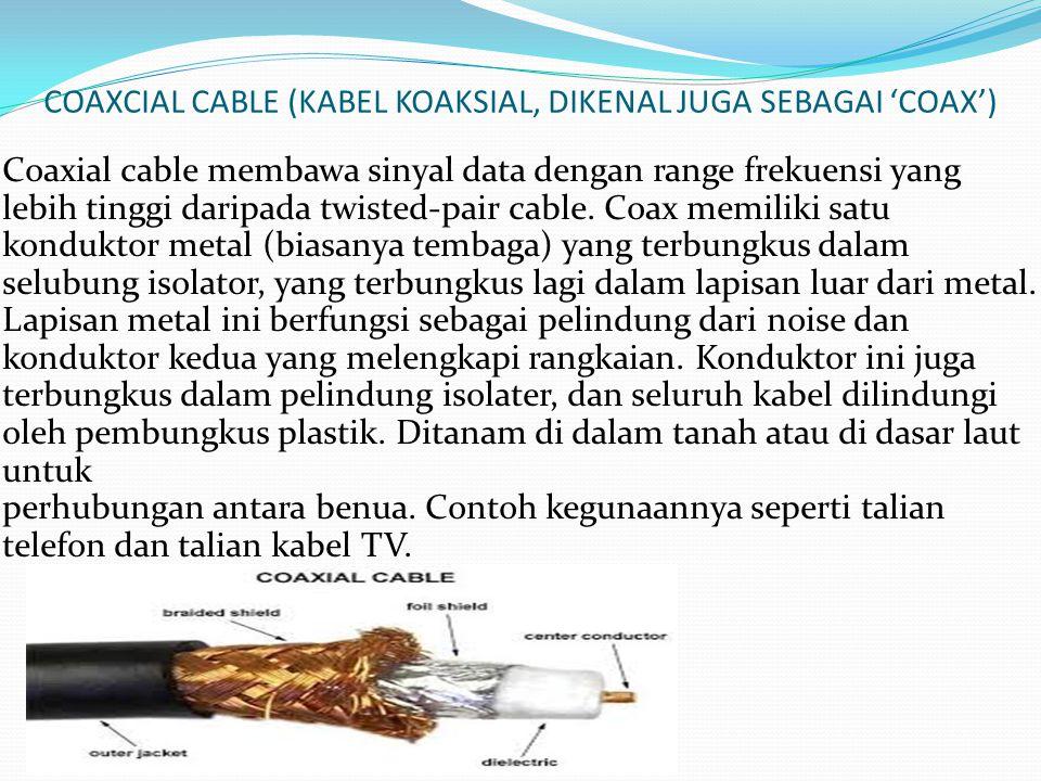 COAXCIAL CABLE (KABEL KOAKSIAL, DIKENAL JUGA SEBAGAI 'COAX')