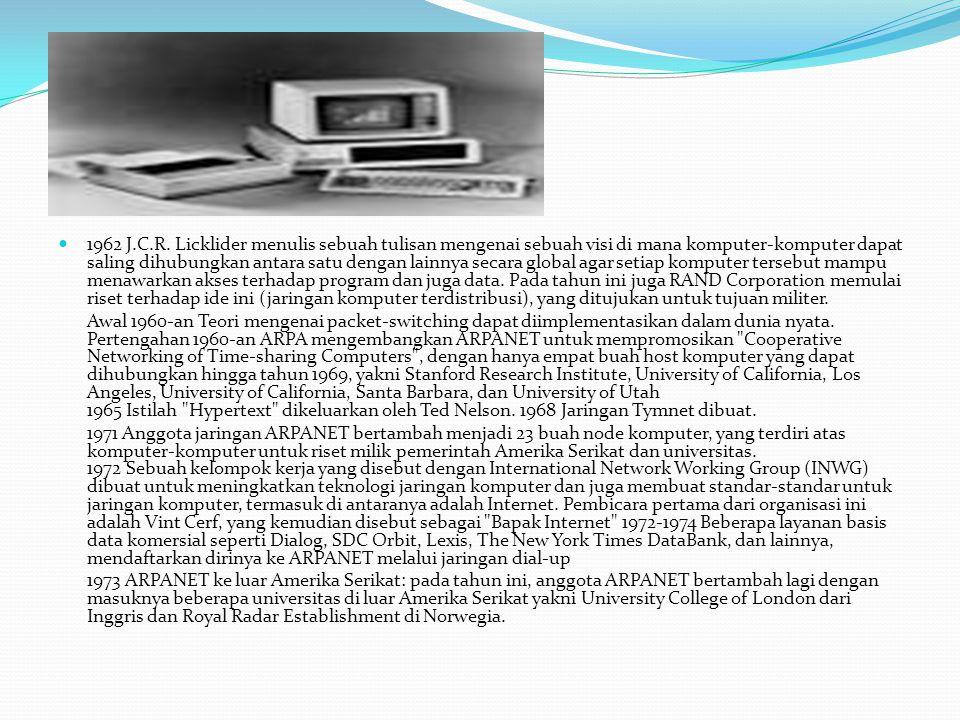 1962 J.C.R. Licklider menulis sebuah tulisan mengenai sebuah visi di mana komputer-komputer dapat saling dihubungkan antara satu dengan lainnya secara global agar setiap komputer tersebut mampu menawarkan akses terhadap program dan juga data. Pada tahun ini juga RAND Corporation memulai riset terhadap ide ini (jaringan komputer terdistribusi), yang ditujukan untuk tujuan militer.