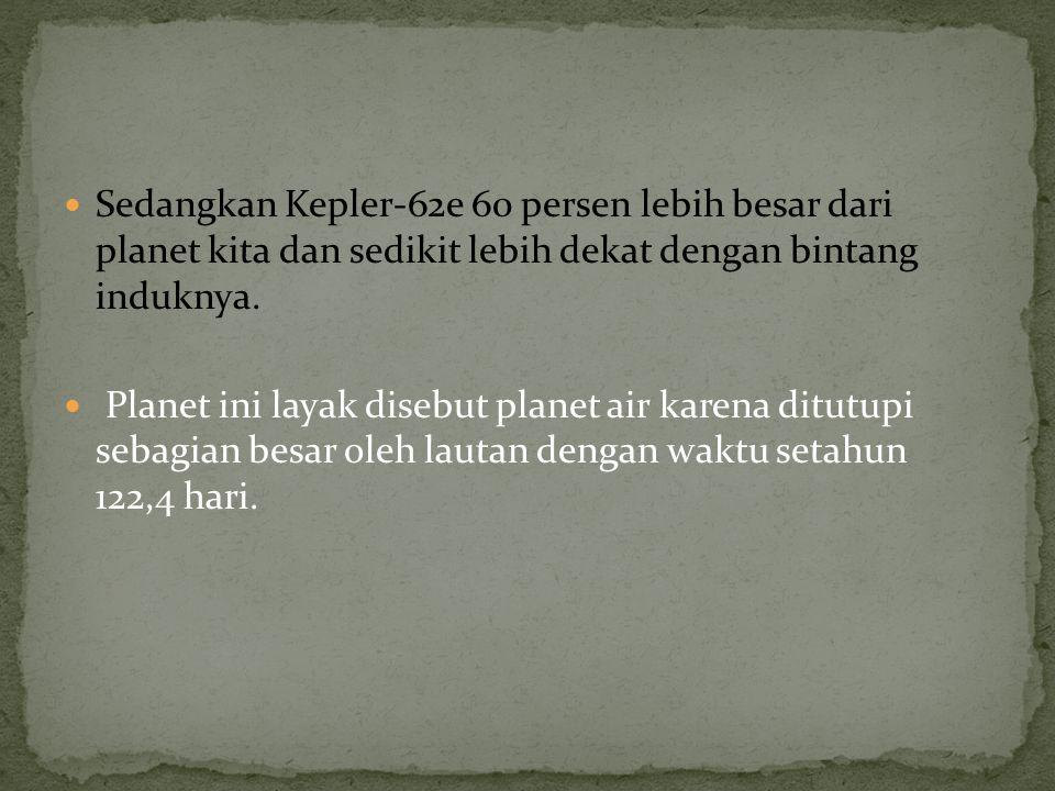 Sedangkan Kepler-62e 60 persen lebih besar dari planet kita dan sedikit lebih dekat dengan bintang induknya.