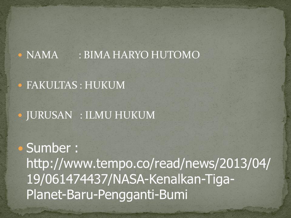 NAMA : BIMA HARYO HUTOMO