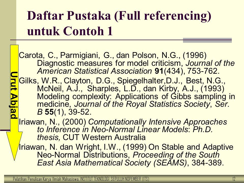 Daftar Pustaka (Full referencing) untuk Contoh 1