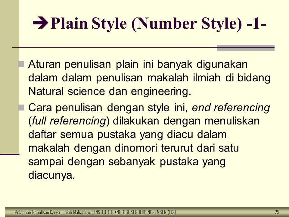 Plain Style (Number Style) -1-