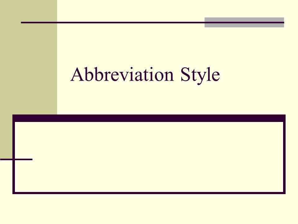 Abbreviation Style
