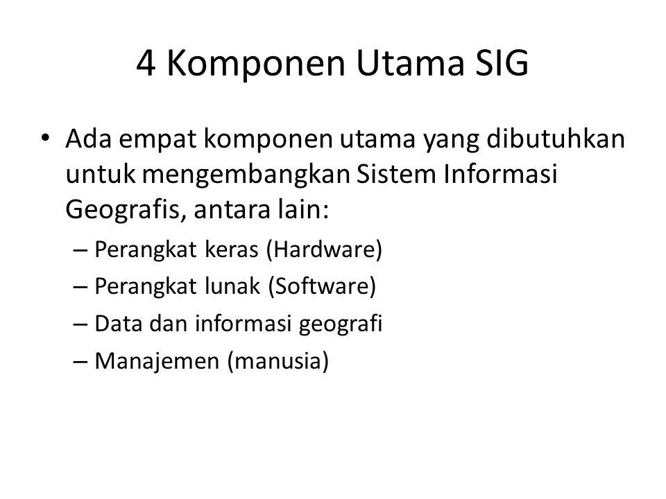 4 Komponen Utama SIG Ada empat komponen utama yang dibutuhkan untuk mengembangkan Sistem Informasi Geografis, antara lain: