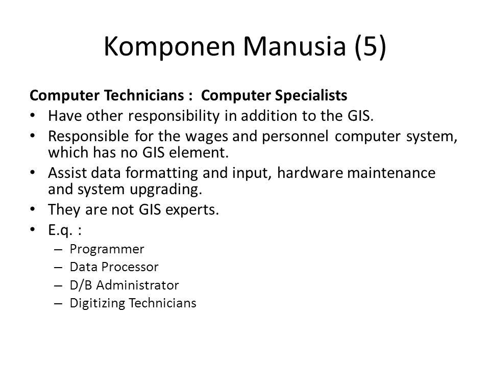 Komponen Manusia (5) Computer Technicians : Computer Specialists