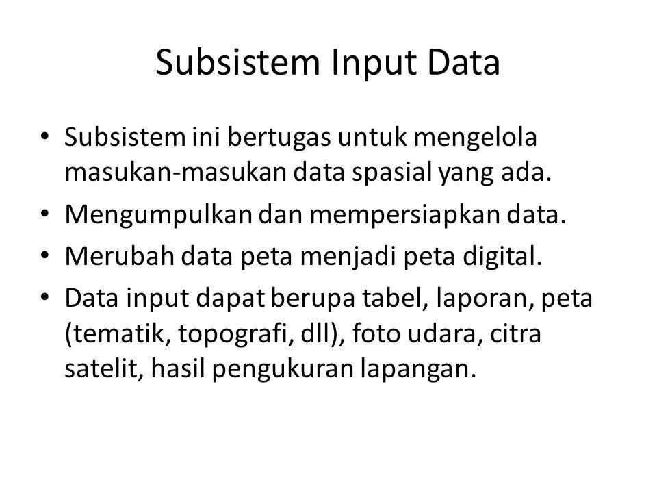 Subsistem Input Data Subsistem ini bertugas untuk mengelola masukan-masukan data spasial yang ada. Mengumpulkan dan mempersiapkan data.