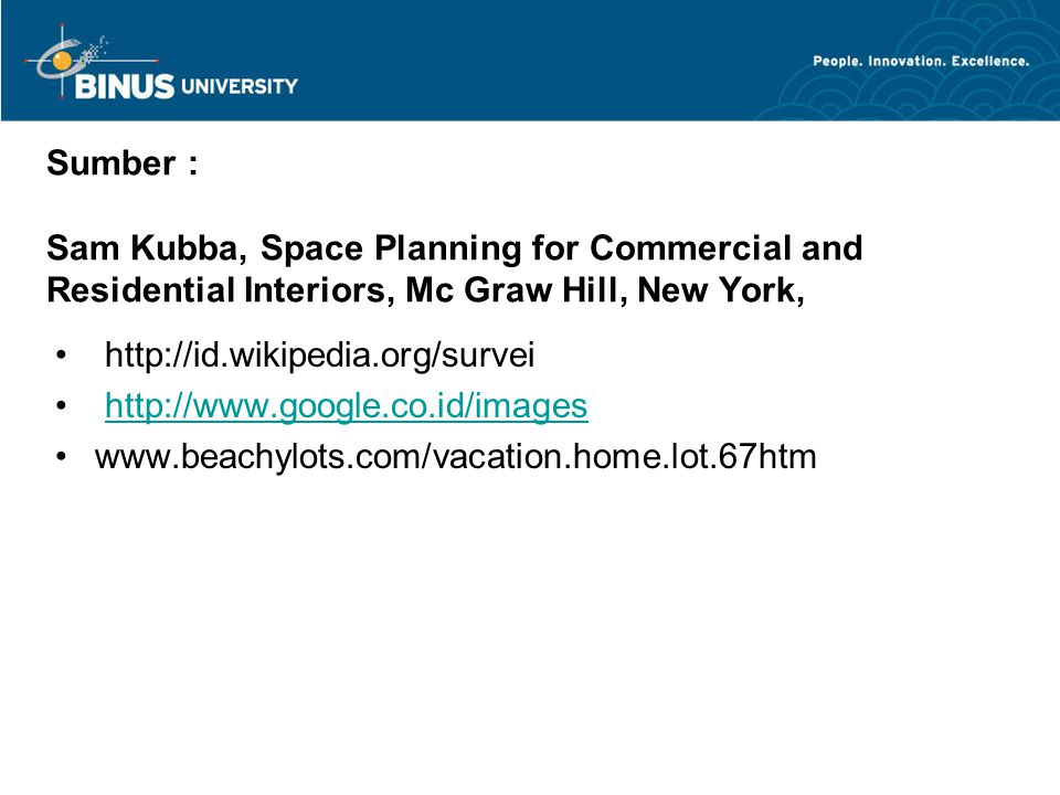 Sumber : Sam Kubba, Space Planning for Commercial and Residential Interiors, Mc Graw Hill, New York,