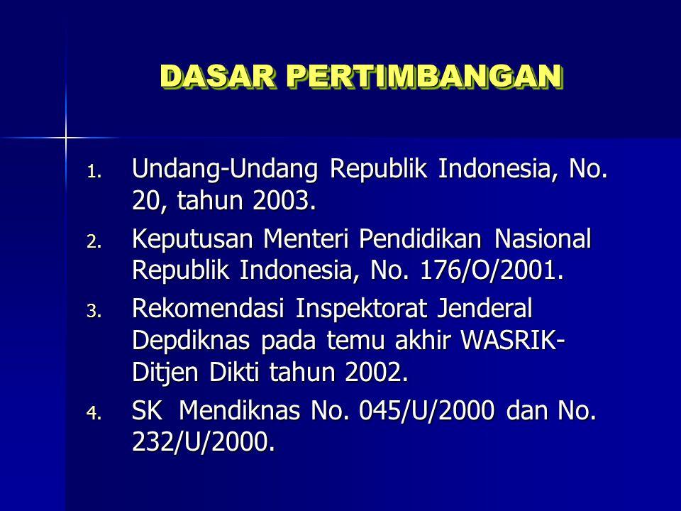 DASAR PERTIMBANGAN Undang-Undang Republik Indonesia, No. 20, tahun 2003. Keputusan Menteri Pendidikan Nasional Republik Indonesia, No. 176/O/2001.