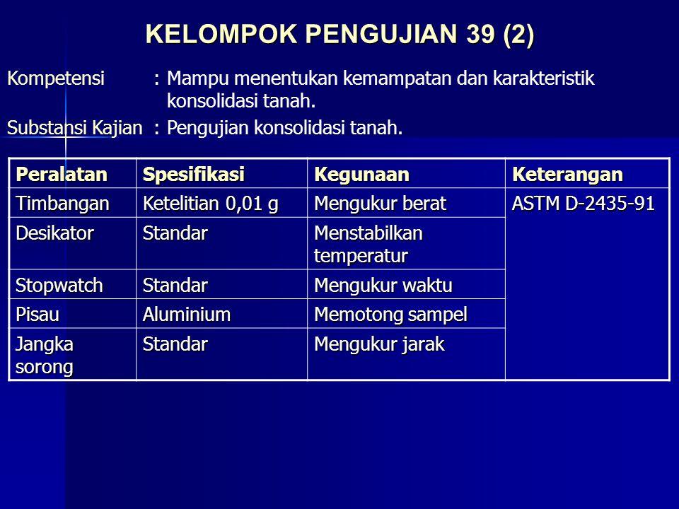 KELOMPOK PENGUJIAN 39 (2) Kompetensi : Mampu menentukan kemampatan dan karakteristik konsolidasi tanah.