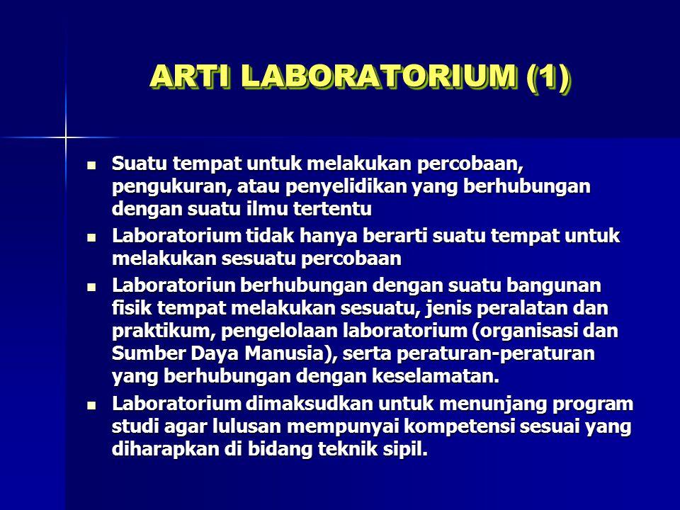 ARTI LABORATORIUM (1) Suatu tempat untuk melakukan percobaan, pengukuran, atau penyelidikan yang berhubungan dengan suatu ilmu tertentu.