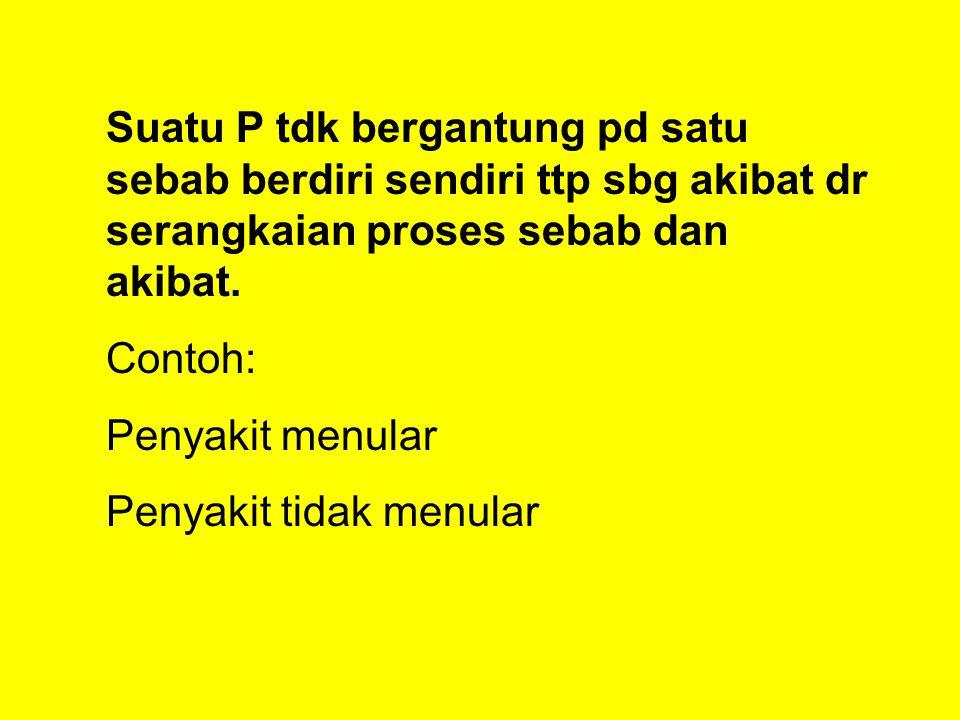 Suatu P tdk bergantung pd satu sebab berdiri sendiri ttp sbg akibat dr serangkaian proses sebab dan akibat.