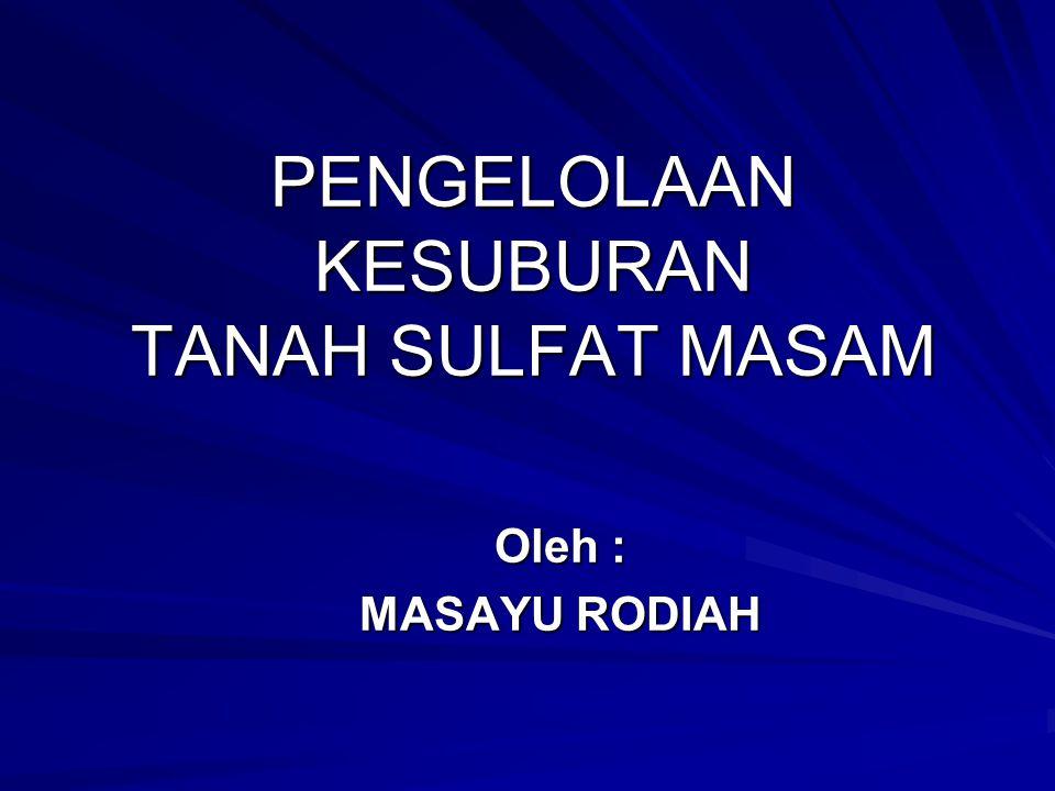 PENGELOLAAN KESUBURAN TANAH SULFAT MASAM