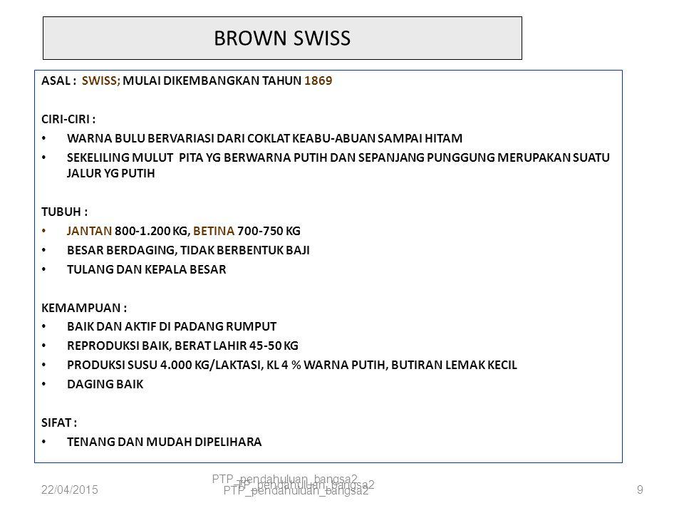 BROWN SWISS ASAL : SWISS; MULAI DIKEMBANGKAN TAHUN 1869 CIRI-CIRI :