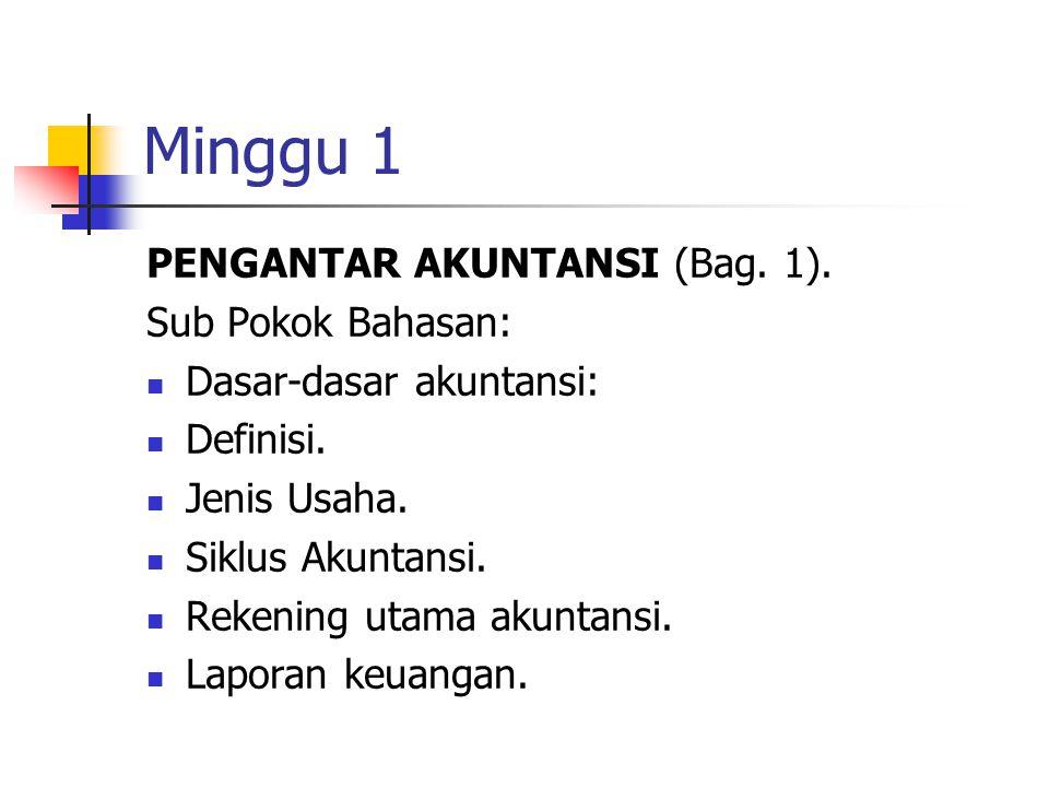 Minggu 1 PENGANTAR AKUNTANSI (Bag. 1). Sub Pokok Bahasan: