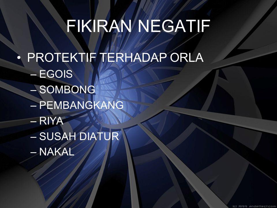 FIKIRAN NEGATIF PROTEKTIF TERHADAP ORLA EGOIS SOMBONG PEMBANGKANG RIYA